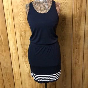 Gap navy racerback dress with white stripes